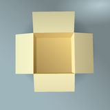 Open cardboard box, corrugated, top view with soft Stock Images