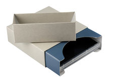 Open cardboard box with dvd inside Stock Photo