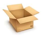 Open cardboard box. Empty open cardboard box  on transparent white background - eps10 vector illustration Royalty Free Stock Images