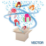 Open cardboard box with an a gifts  Royalty Free Stock Photos