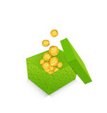 Open cardboard box  with golden coins for St. Patricks Day, iso Stock Photos