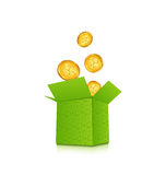 Open cardboard box with golden coins for St. Patricks Day, isol Royalty Free Stock Photos