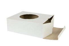 Open Cardboard Box with a Hole on White Royalty Free Stock Photos