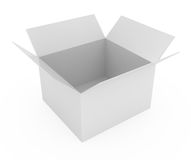 Open Cardboard Box isolated on white. 3d illustration Stock Photos