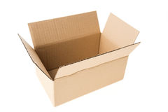 Open cardboard box isolated Stock Image