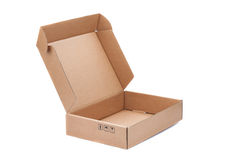 Open Cardboard Box isolated on a White background Stock Photography