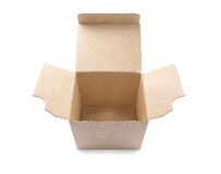 Open cardboard box on a isolated white background with shadow Stock Photos