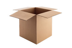 Open Cardboard box isolated on white with clipping path Stock Photography