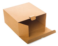 Open cardboard box isolated on white. Open cardboard box lying on white background Stock Photos