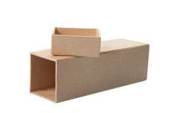 Open Cardboard Box with Lid Stock Image