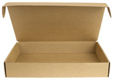 Open cardboard box with a lid Stock Photo