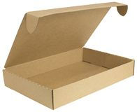 Open cardboard box with a lid Royalty Free Stock Images