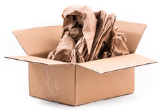 Open cardboard box with paper for protection Royalty Free Stock Photography