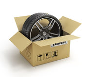 Open Cardboard Box with Tires on white background. Royalty Free Stock Photos