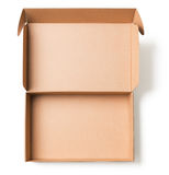 Open cardboard box top view. On white Royalty Free Stock Image