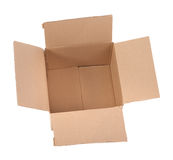 Open cardboard box on white Stock Images