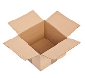 Open cardboard box on white Royalty Free Stock Photography