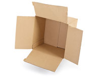 Open cardboard box on white Stock Photography