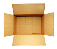 Open cardboard box on white Royalty Free Stock Photos