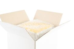 Open cardboard box. On white background royalty free stock image