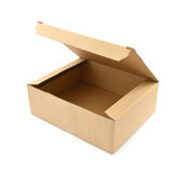 Open Cardboard box on white. Open Cardboard box isolated on white background with clipping path Stock Images