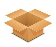 Open cardboard box on white Stock Photo