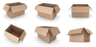 Open cardboard boxes Stock Photography