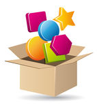 Open cardboard with items Stock Photography