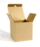Open cardboard package. On white background Royalty Free Stock Photo