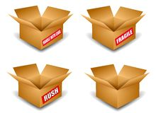 Open Cardboard Shipping Boxes. An illustration featuring your choice of 4 brown cardboard boxes with and without labels that say 'handle with care', 'fragile' royalty free illustration