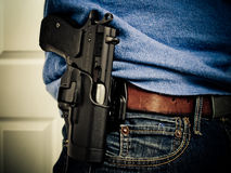 Herndon, VA - Circa 2010: Individual Exercising the Right to Openly Carry a Handgun Royalty Free Stock Image