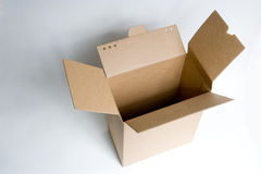 An open carton. A buff open rectangle carton is used for package Royalty Free Stock Image