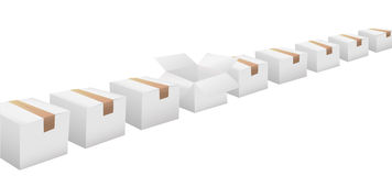 Open carton in line of white shipping boxes Stock Images