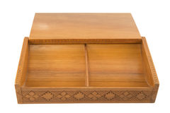 Open carved wooden box Royalty Free Stock Photos