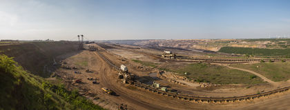 Open-cast brown coal mining garzweiler germany panoramic view Royalty Free Stock Images