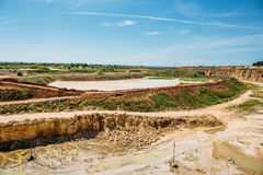 Open cast limestone mining quarry royalty free stock photos