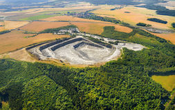 Open cast mine. Aerial view of open cast mine. Industrial landscape after mining Stock Photography