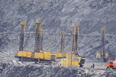 Open-cast mine, extraction of iron ore Stock Images