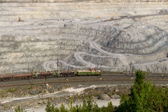 Open-cast mine on mining operations in Asbestos Russia Stock Photo