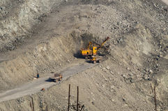 Open-cast mine on mining operations in Asbestos, Russia Royalty Free Stock Photo
