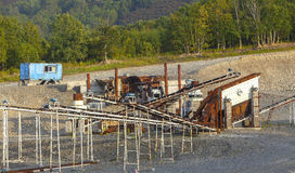 Open-cast mine on mining operations in wood Stock Images