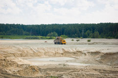 Open cast mine pit. Day Royalty Free Stock Images