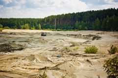 Open cast mine pit. Day Royalty Free Stock Image