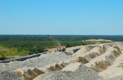 Open cast mining. Dragline in open cast mining quarry Stock Photos