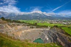 Open cast mining. Open cast mining in Austrian Alps Stock Image