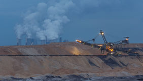 Open cast mining garzweiler germany in the evening. A open cast mining in garzweiler germany in the evening royalty free stock photo