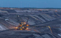 Open cast mining garzweiler germany in the evening. The open cast mining in garzweiler germany in the evening royalty free stock image