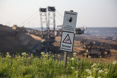 Open-cast mining germany warning sign Royalty Free Stock Image