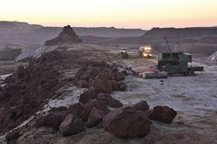 Open-cast mining site at dawn Huelva Spain stock image