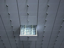 Open cell with money in safety deposit box Royalty Free Stock Images